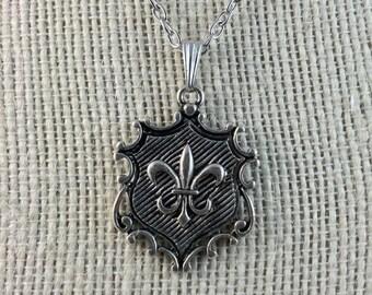 Fleur de Lis Pendant & Necklace - French Necklace - Fleur de Lys Necklace