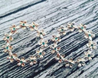 Stud Earrings - Sterling Silver Earrings - Flower Earrings - Blue Flower Earrings - Blue Floral  Earrings - Something Blue - Bridal Jewelry