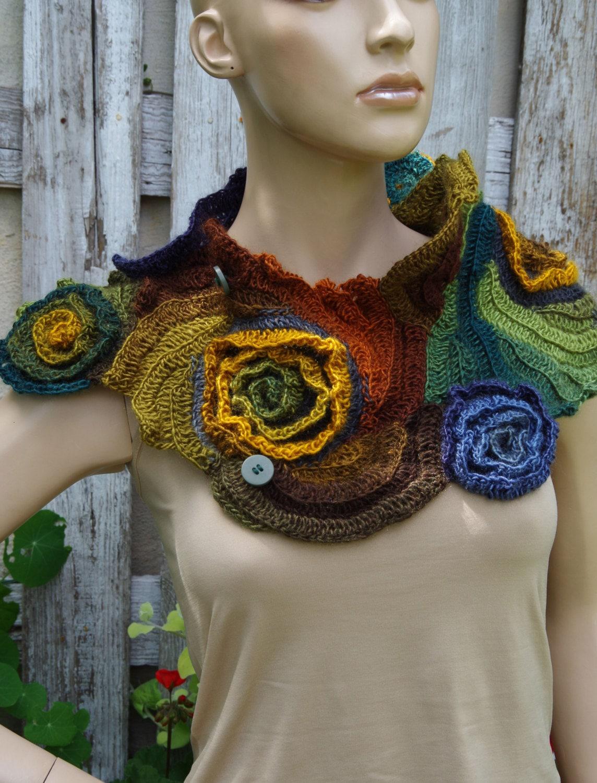 Crochet Scarf Unique Capelet Roses Crochet Button Scarf