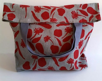 Linen market bag/shopping bag/tote bag with red screen printed botanical print