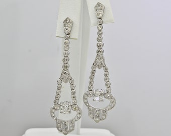 Diamond & Platinum Dangle Earrings