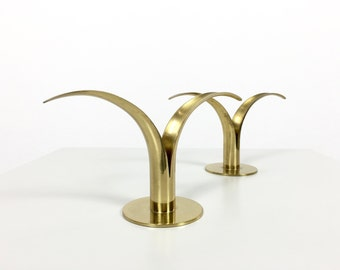 Pair Brass Ivar Alenius Bjork Liljan Tulip Candle Holders for Ystad Metall Sweden 1950s Mid Century Modern