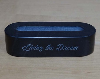 Black Marble Business Card Holder ~ Custom Desk Accessories ~ Laser Engraved ~ Marble Desk Accessory ~ BC Holder