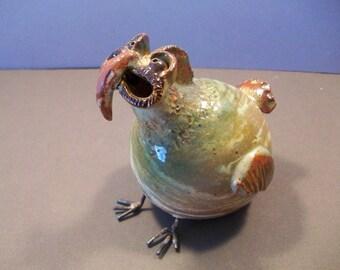 Stoneware Footed Wacky Bird Agateware