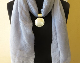 Scarf Pendant, Scarf Slide, Scarves Necklace, Scarf Ring, Scarf Jewelry, Scarf Bail & Pendnat,  light blue Scarf , Scarf With Silver Pendant
