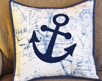 Blue and White Quilted Anchor Pillow Sham on Nautical Print