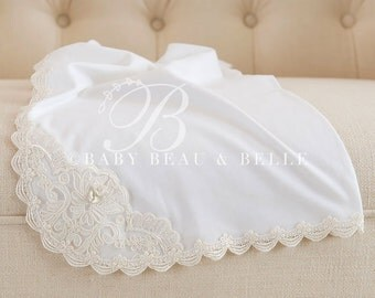 Caroline Receiving Blanket, White Cotton & Ivory Lace