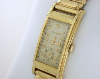 "Vintage Bulova Watch ""Minute Man"" 17 Jewel, Long Curved Case 10k Rolled Gold Plate Art Deco Watch WAT10011"