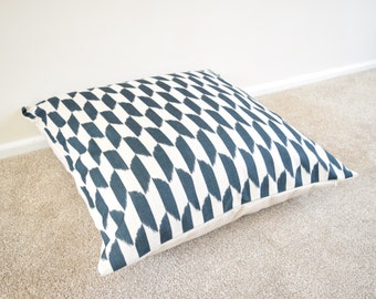 Black Geometric/Scandinavian Cotton Linen Floor Cushion/Pillow Cover in 26 x 26""