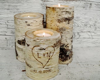 3 Birch Candle Holders  -  Candles Holders, Tree Slice, Wooden Candle Holders,Rustic Wood