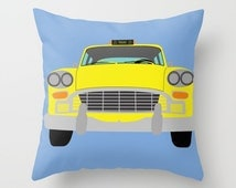 New York Yellow Taxi throw pillow-Cool Manhattan Cab Pillow-Colourful Automobile Pillow cover-16x16 pillow-18x18 pillow-20x20 pillow
