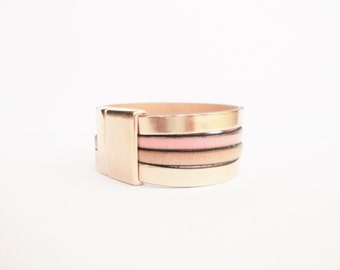 Cuff leather bracelet pink gold magnetic clasp pink gold