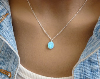 Wire wrapped Opal necklace, Blue opal charm, White opal necklace, Opal jewelry, October birthstone, Sterling silver, Opal jewellery