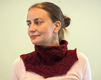 Beaded Garnet Red Baby Alpaca Lace and Cable Cowl
