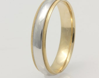 4.5mm Two Tone 14K/18k  Yellow Gold /White Gold Half Round, High Polish, Milgrain, Comfort Fit Wedding Band