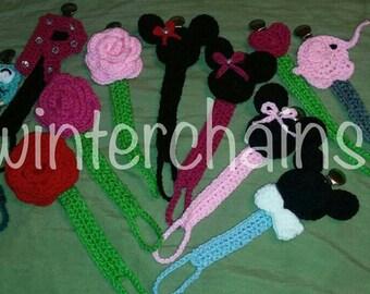 Crochet pacifier holders