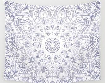 Blue Lotus Mandala Tapestry Wall Hanging Meditation Yoga Grunge Hippie