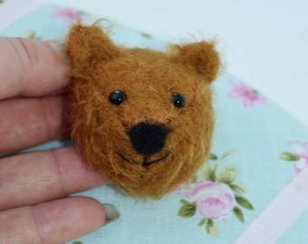 Teddy Bear Brooch - Mohair teddy - pin brooch