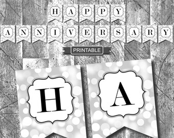 Silver and Black Sparkle Happy Anniversary Banner Party Decorations Printable Digital PDF Instant Download