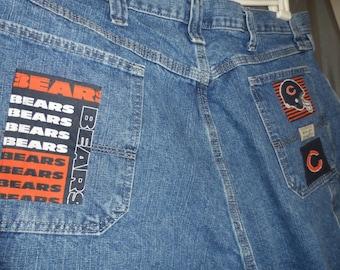 Men's Chicago Bears shorts upcycled blue jean shorts