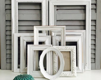 white shabby chic frame set hand painted gallery wall frames distressed frame set white nursery decor - Distressed Frames