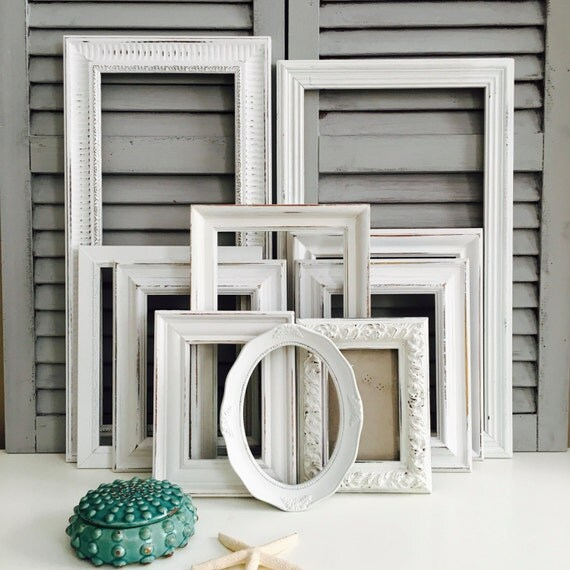 white shabby chic frame set hand painted gallery wall frames distressed frame set white nursery decor from renoverestorations on etsy studio - Distressed Picture Frames