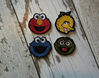 READY TO SHIP!!! Set of four - Sesame Street Inspired Applique Iron On Patch Small Size 2x2!