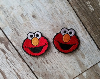 READY TO SHIP!!! Elmo Sesame Street Inspired Embroidered Iron On Patches! Ready to ship! Small 2x2 Set of two!