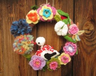 Wreath With Stork, Handmade Wall Decor, Flowers Wreath, Easter Decoration, Door Wreath, Kitchen decoration, Bird And Flowers Decoration