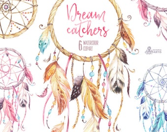 Dreamcatchers. Watercolor Clipart. Tribal, feathers, diy, logo, invitation, catcher, pink, blue, boho style, native america, wild, beads