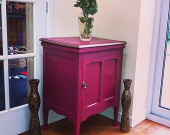 SOLD VINTAGE DRINKS Cabinet Antique Edwardian cabinet hand painted in Annie Sloan Burgundy