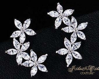 Art Deco Wedding Earrings, DIAMOND LILLY PRINCESS Silver Simulated Diamond Bridal Earrings, Vintage Earrings, Luxury Post Bridal Earrings