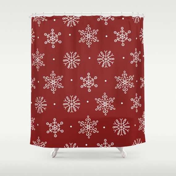 Christmas red snowflake shower curtain and white