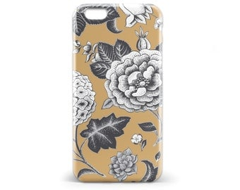 1414 // Brown Floral Phone Case iPhone 5 5S, iPhone 6 6S, Samsung Galaxy S5, Samsung Galaxy S6, Samsung Galaxy S7 Edge Plus