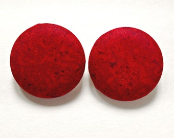 Extra Large Red and Black Batik Button Earrings