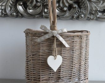 Grey Willow 2 Bottle Gift Basket with Shabby Chic Heart and Bow Detail