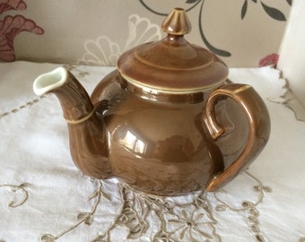Brown Lustre Side Handled Teapot. Holds 3 Cups