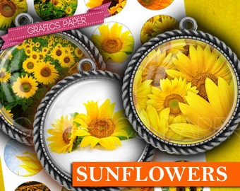 """Yellow sunflower Flower Digital collage sheet - td257 - 1.5"""", 1.25"""", 30mm, 1 inch circles - Jewelry Making, bottle caps, Crafts, Cuff Link"""