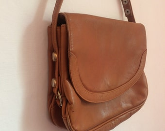 Vintage Shoulder or Top Handle Bag Dark Tan Soft Leather