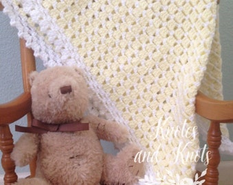 Yellow baby blanket, yellow and white baby granny square blanket, yellow bedding, baby shower gift gender neutral