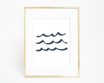Wave Poster, Beach Art Print, Printable Wall Art, Wave Wall Art, Wall Prints, Navy Art Print Ocean Print Ocean Waves Art Print Coastal Print
