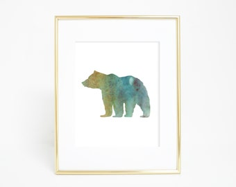 Baby Art Print, Green Bear, Forest Animal Art, Woodland Art print, Nursery Artwork, Watercolor Bear Print, Bear Art, Woodland Decor Wall Art