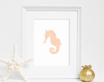Wall Art, Seahorse Wall Decor, Seahorse Print, Digital Prints, Beach Decor, Nautical Print, Beach Print, Printable Art, Bathroom Decor