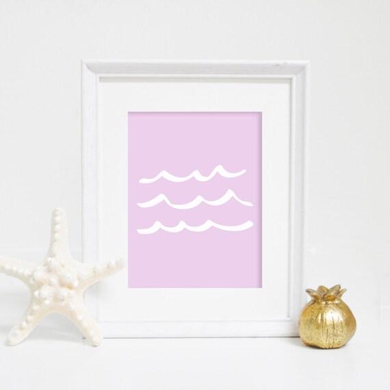 Wave Print, Lavender Print, Purple Wall Art, Downloadable Art, Printable Wall Art, Wave Art, Ocean Prints, Beach House Decor, Beach Print