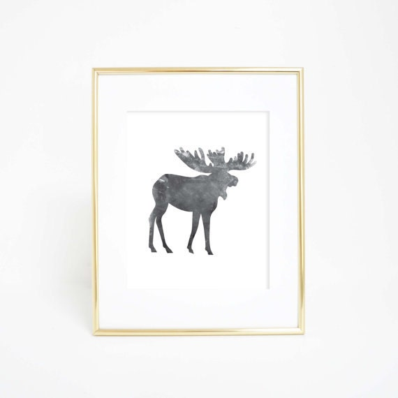 Black Moose Print, Moose Wall Art, Moose Art Print, Woodland Decor, Black and White, Woodland Print, Woodland Nursery, Nursery Moose Art