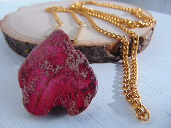 The JASPER SLICE Necklace // Natural Jasper Pink Slice Stone on a Gold Plated Chain // Boho Hippie Layering Necklace