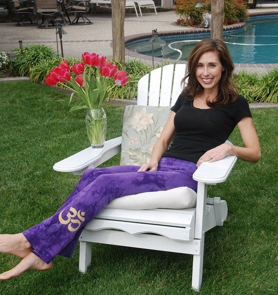 Tall Purple Hand Dyed Yoga Pants with Optional Hand Painted Chakra Design including Extra Long and Plus Sizes by Splash Dye Activewear