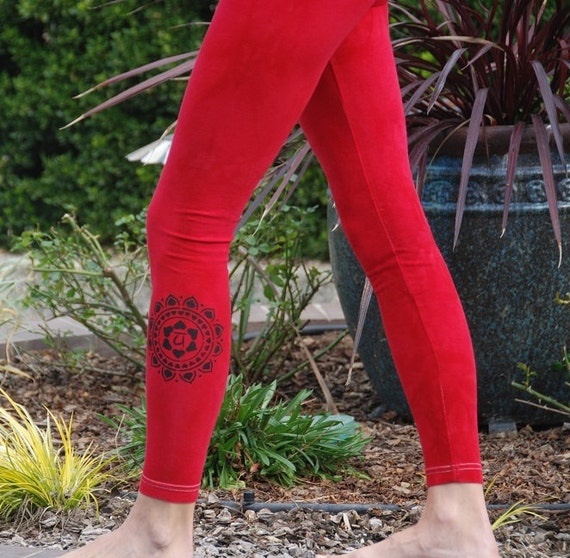 Red Yoga Leggings Hand Dyed from The ArtiZan Collection with Optional Hand Painted Design by Splash Dye Activewear