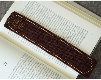 Knitted bookmark - brown wool with sand coloured glass beads and amber, handmade bookmark, fabric bookmark - ready to ship