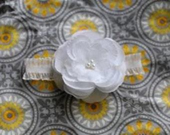 White Pearl Rose Flower Newborn Headband Photo Prop